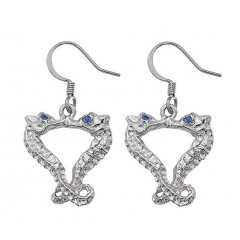 Kissing Seahorse Earrings with Swarovrski Sapphire Eyes
