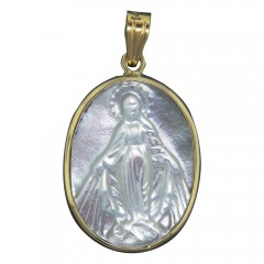 Gold and Mother of Pearl Miraculous Medal Pendant