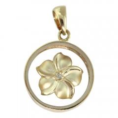 Gold Spinning Plumeria Pendant