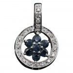 White Gold Sapphire and Diamond Flower Pendant