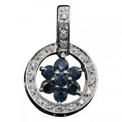 White Gold Sapphire and Diamond Flower Pendant