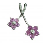 White Gold Pink Sapphire Flower Pendant
