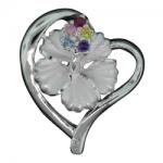 Hibiscus Sparkle Heart Pendant