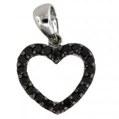 White Gold Black Diamond Heart Pendant