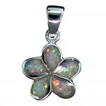 White Opal Plumeria Pendant