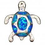Modern Opal Turtle Pendant