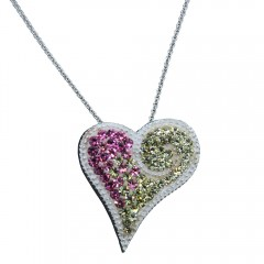 Pink and Yellow Crystal Heart Pendant & Chain