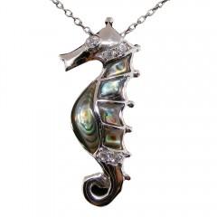 Abalone Seahorse Pendant