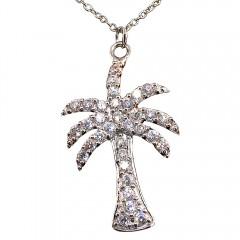 Palm Tree Cubic Zirconia Pendant