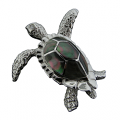 Gray Mother of Pearl Turtle Pendant