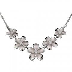 Sandblasted Plumeria Bouquet Necklace