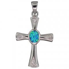 Opal Accent Cross Pendant
