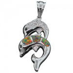 Double Jumping Dolphins Fire Opal Pendant