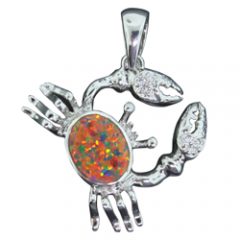 Fire Opal Crab Pendant