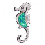 Blue Opal Seahorse Pendant