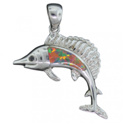 Fire Opal Swimming Fish Pendant