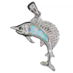 White Opal Swimming Fish Pendant