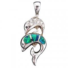 Opal CZ Double Dolphin Pendant