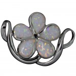 White Opal Plumeria Slider Pendant