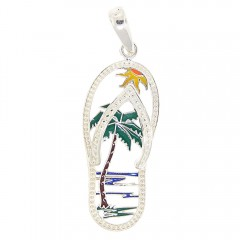 Beach Scene Flip Flop Pendant - Made In The USA