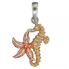 Colorful Seastar and Seahorse Pendant - USA