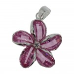 Pink Crystal Plumeria Pendant
