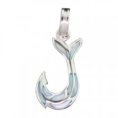 Blue Mother of Pearl Hook Pendant