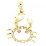 Mr. Miami Crab - Gold and Diamond Pendant