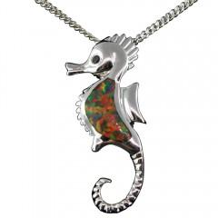 Fire Opal Seahorse Pendant