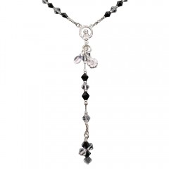 Black Crystal Rosary Necklace